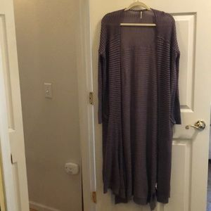 Free People Striped Long Duster Sweater